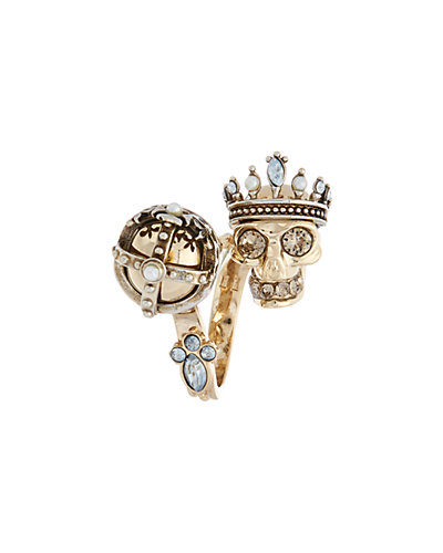 Alexander McQueen King & Queen Crystal Skull Ring