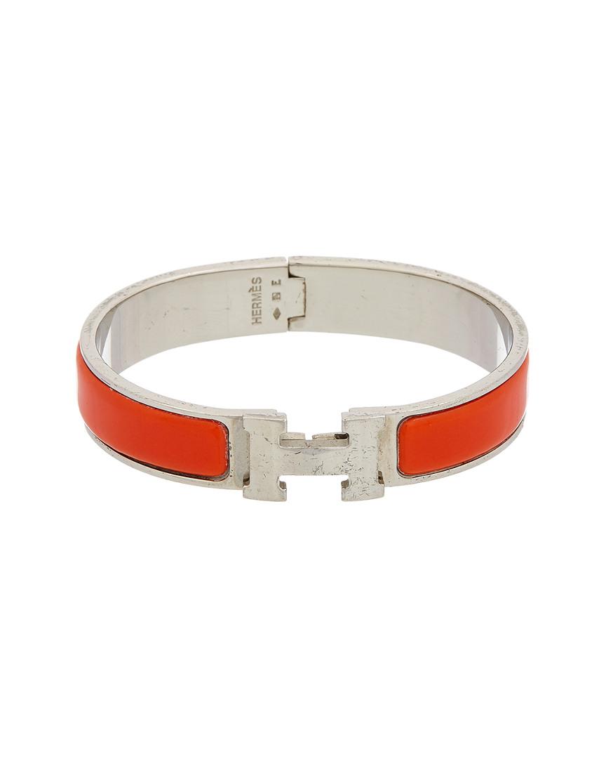 49d444e96112 Hermes Silver-Tone  amp  Red Enamel Narrow Clic-Clac H Bracelet