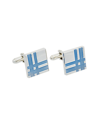 Link Up Plaid Etched Square Cufflinks