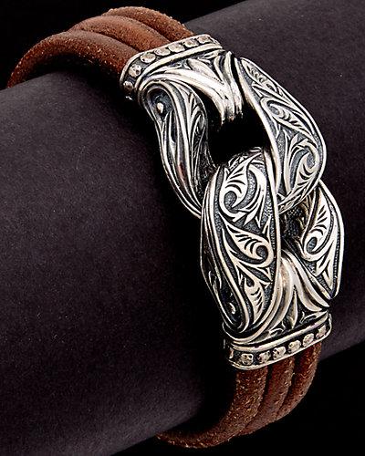 Scott Kay Guardian Silver Men's Leather Bracelet