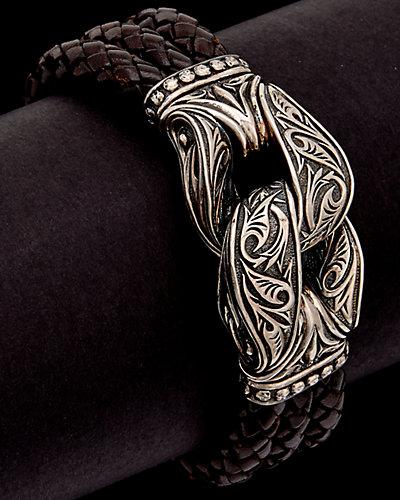 Scott Kay Silver & Leather Men's Bracelet
