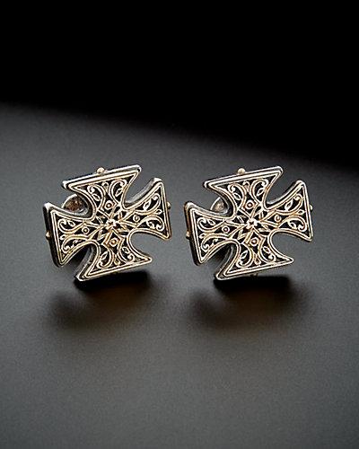 Konstantino Classics 18K & Silver Maltese Cross Filigree Cufflinks
