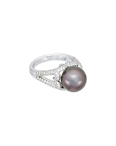 TARA Pearls 18K 1.18 ct. tw. Diamond & 11-12mm Tahitian Pearl Ring