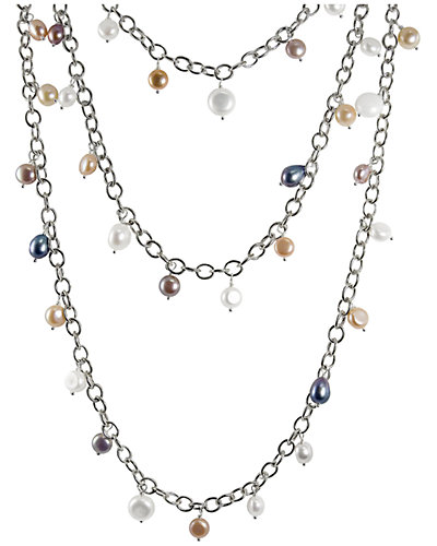 Silver 6-7mm Freshwater Pearl Multi-Strand 60in Necklace