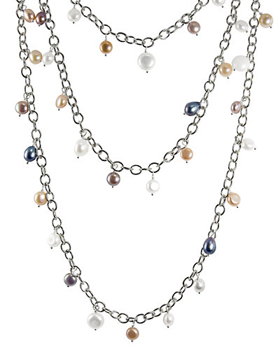Silver 7-10mm Freshwater Pearl 60in Necklace