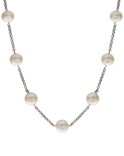 Silver 11-12mm Freshwater Pearl Station Necklace