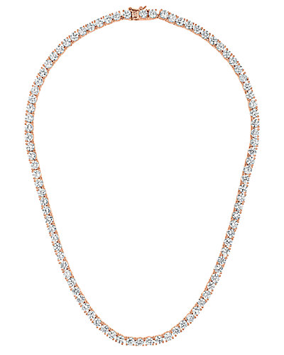 Genevive 14K Rose Gold over Silver CZ Necklace