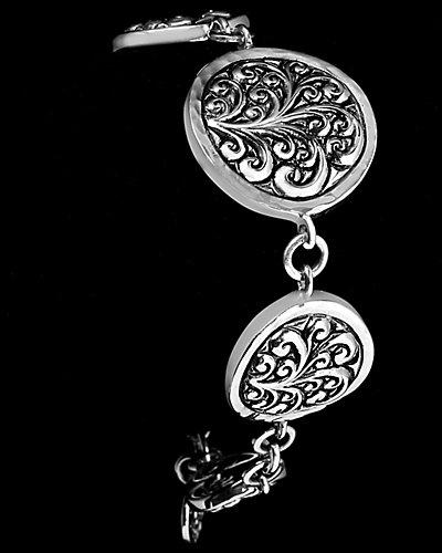 Lois Hill Repousse Silver Station Toggle Bracelet