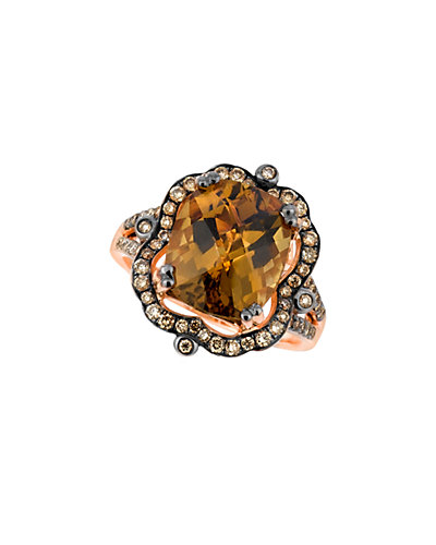 Le Vian 14K Rose Gold 4.09 ct. tw. Chocolate Diamond & Quartz Ring