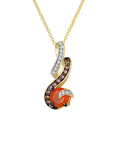Le Vian 14K 0.90 ct. tw. White & Chocolate Diamond & Opal Necklace