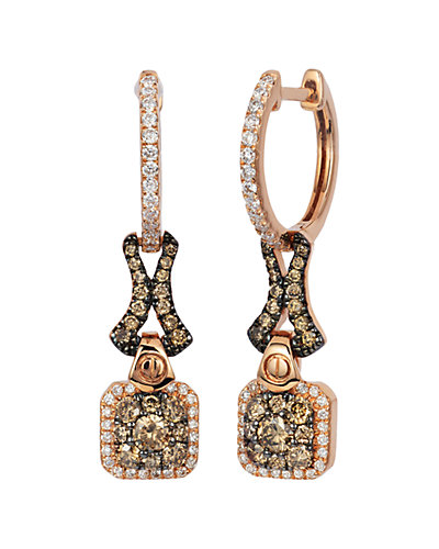 Le Vian 14K Rose Gold 0.72 ct. tw. White & Chocolate Diamond Earrings