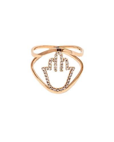 Jewels by Lori Kassin 14K Rose Gold 0.21 ct. tw. Diamond Hamsa Ring