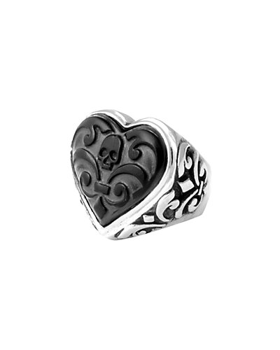 King Baby Studio Silver Carved Jet Heart Ring