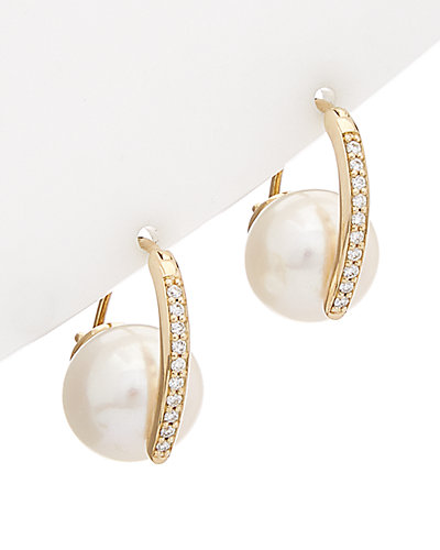HONORA 14K 0.20 ct. tw. Diamond & 11-11.5mm Pearl Earrings