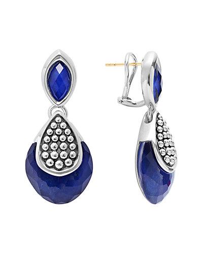 LAGOS Maya Silver Lapis Doublet Drop Earrings
