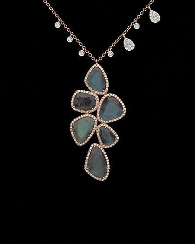 Meira T 14K Rose Gold & Silver 10.44 ct. tw. Diamond & Labradorite Necklace