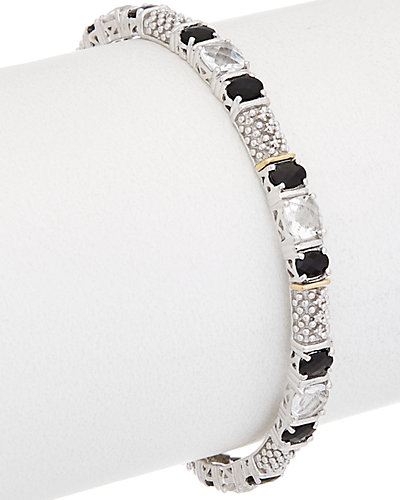 Phillip Gavriel 18K Gold & Silver Black Onyx & Rock Crystal Bangle