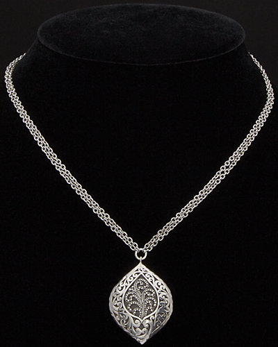 Lois Hill Classic Silver Scroll Granulated Pendant Toggle Necklace