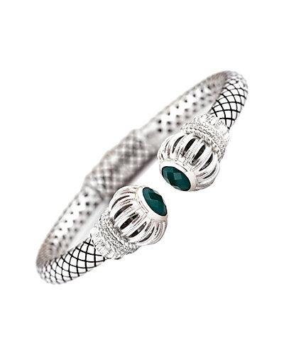 Andréa Candela Las Olas 18K & Silver 0.10 ct. tw. Diamond & Green Agate Bangle