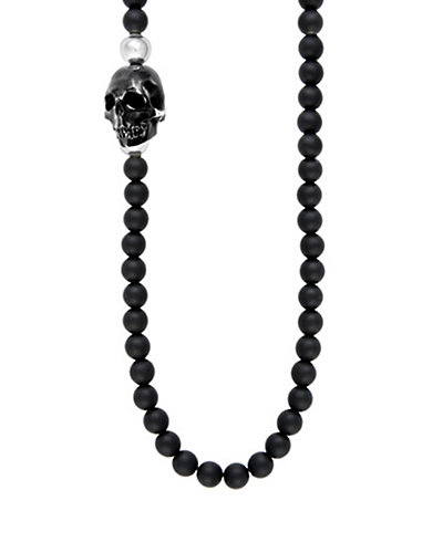 King Baby Studio Silver & 6mm Onyx Bead Skull 30in Necklace
