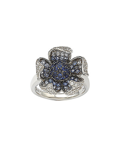 Suzy Levian 18K & Silver 2.42 ct. tw. Brown Diamond & Sapphire Flower Ring