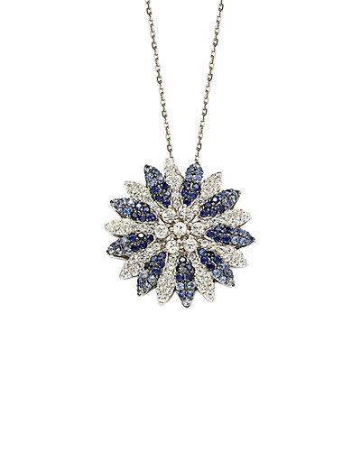 Suzy Levian 18K & Silver 4.68 ct. tw. Brown Diamond & Sapphire Necklace