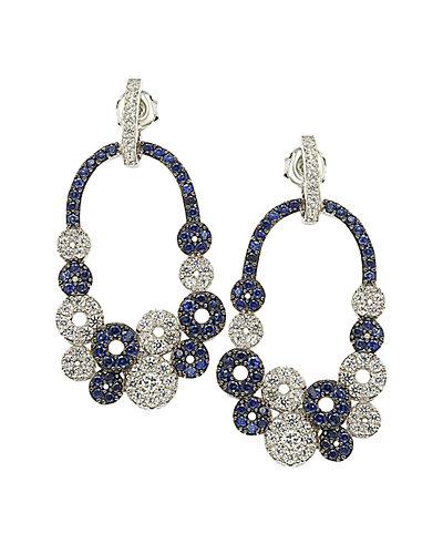 Suzy Levian 18K & Silver 5.44 ct. tw. Brown Diamond & Sapphire Earrings