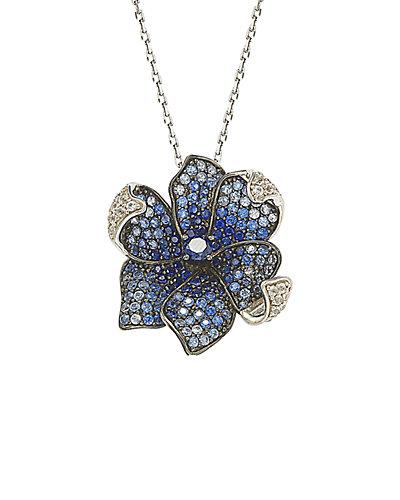 Suzy Levian 18K & Silver 3.52 ct. tw. Brown Diamond & Sapphire Necklace