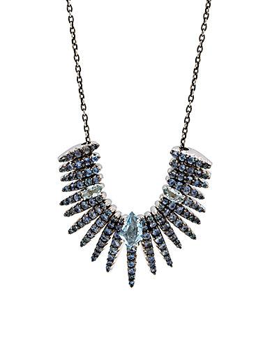 Alexis Bittar Silver Quartz & Blue Sapphire Necklace