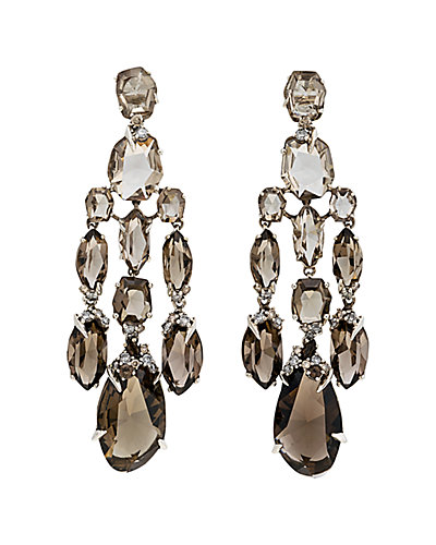 Alexis Bittar Marquis Silver Smoky Quartz Earrings