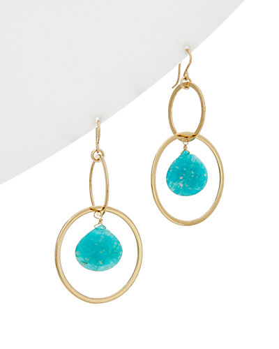 Devon Leigh 24K Electroplated Amazonite Hoop Earrings