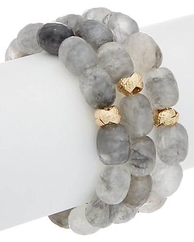 Devon Leigh 24K Electroplated Quartz Set of 3 Stretch Bracelets