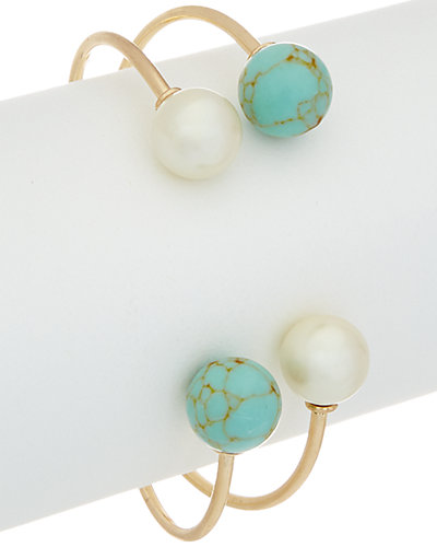 Flint & Mortar 14K Filled Turquoise & Pearl Open Bangle