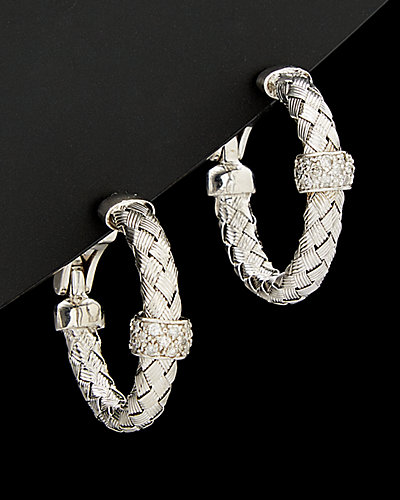 Meshmerise 18K Over Silver 0.40 ct. tw. Diamond Bar Hoop Earrings