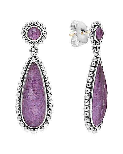 LAGOS Maya Silver Charoite Doublet Drop Earrings