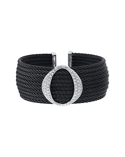 ALOR Noir 18K & Stainless Steel 0.42 ct. tw. Diamond Cable Cuff