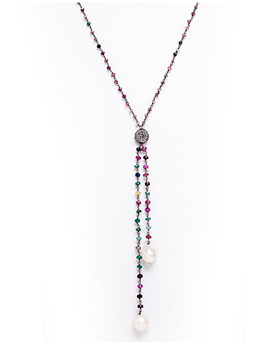 Rivka Friedman Signature Silver Sapphire & 12-15mm Pearl Necklace