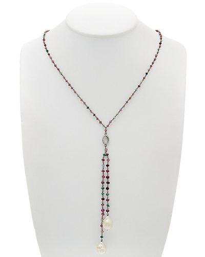 Felix & Lola by Rivka Friedman Rhodium Clad Pearl & Gemstone 31in Necklace