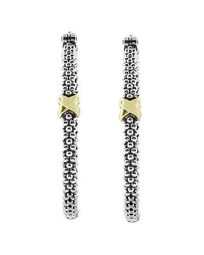 LAGOS Signaure Caviar 18K & Silver Hoop Earrings