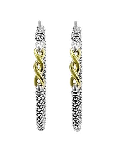 """LAGOS """"Signature Caviar"""" 18K & Silver Hoop Earrings"""