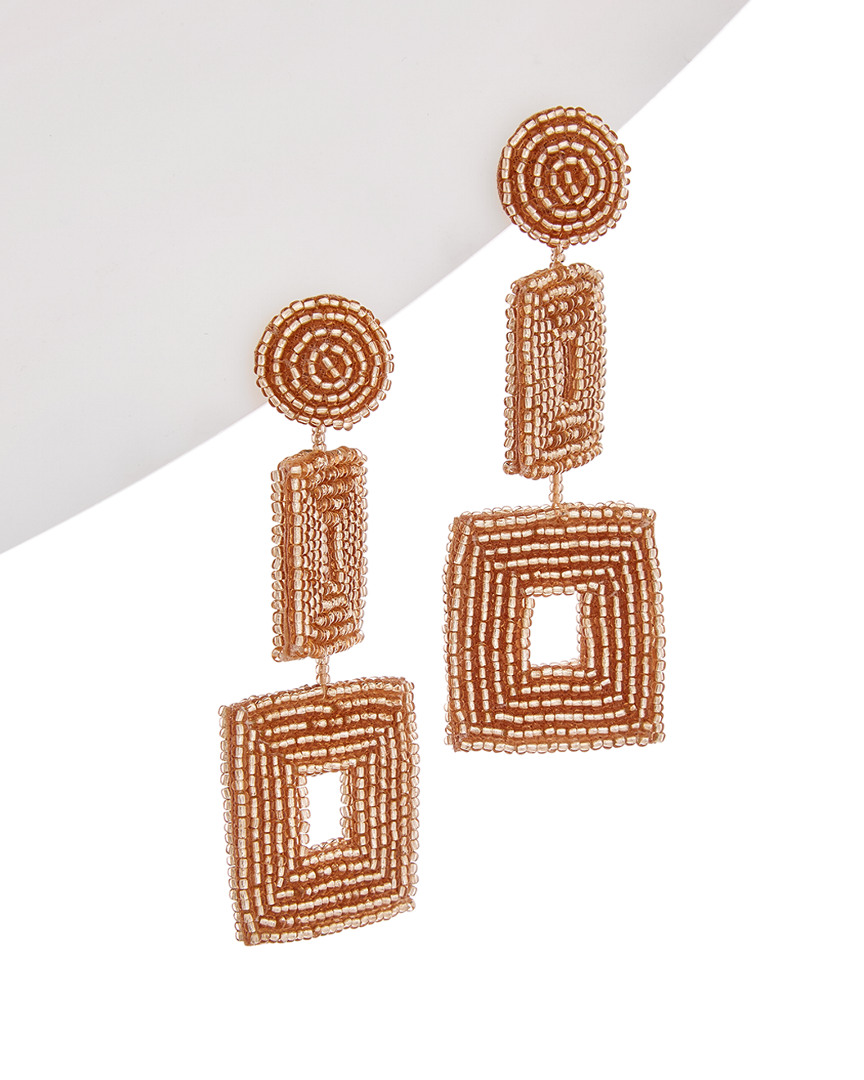 Kenneth Jay Lane PLATED DOUBLE SQUARE DROP EARRINGS