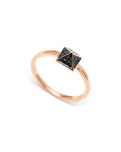 Jewels by Lori Kassin 18K Rose Gold Diamond Pyramid Stud Ring