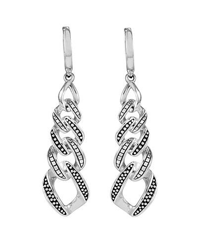 """LAGOS """"Signature Caviar"""" Silver Drop Earrings"""