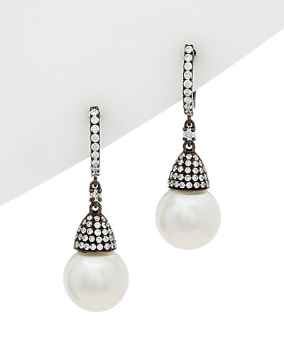 TARA Pearls 18K & Rhodium 0.67 ct. tw. Diamond & 11-12mm South Sea Pearl Drop Earrings