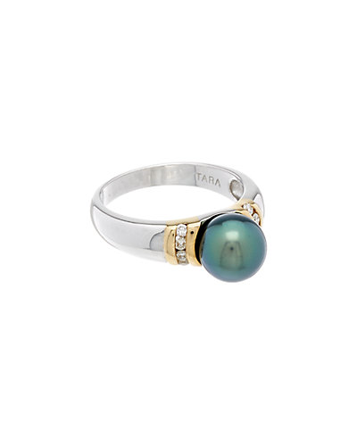 TARA Pearls 18K Two-Tone 0.13 ct. tw. Diamond & 8-9mm Tahitian Pearl Ring