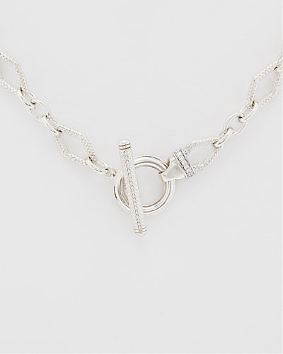 Charles Krypell Silver 0.10 ct. tw. Diamond Toggle Necklace