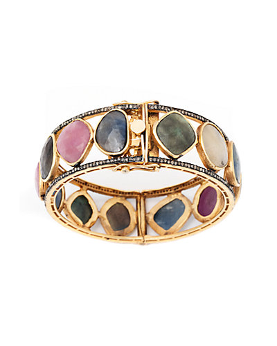 Jewels by Lori Kassin 18K over Silver 97.30 ct. tw. Diamond & Sapphire Bracelet