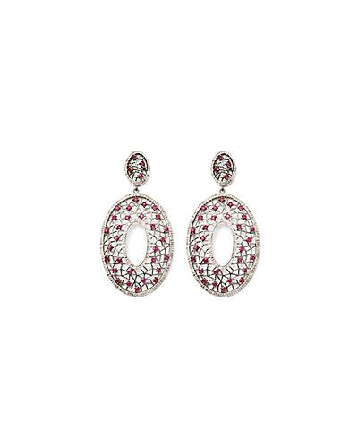 Jewels by Lori Kassin Silver 7.50 ct. tw. Diamond & Ruby Drop Earrings