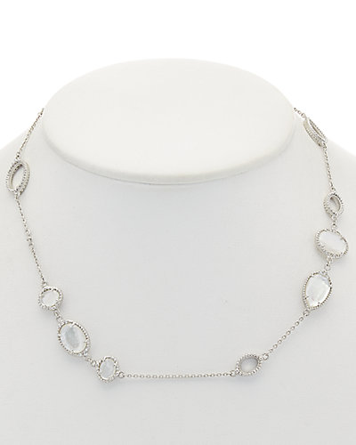 Judith Ripka Silver 24.24 ct. tw. Sapphire & Mother-of-Pearl Doublet Necklace
