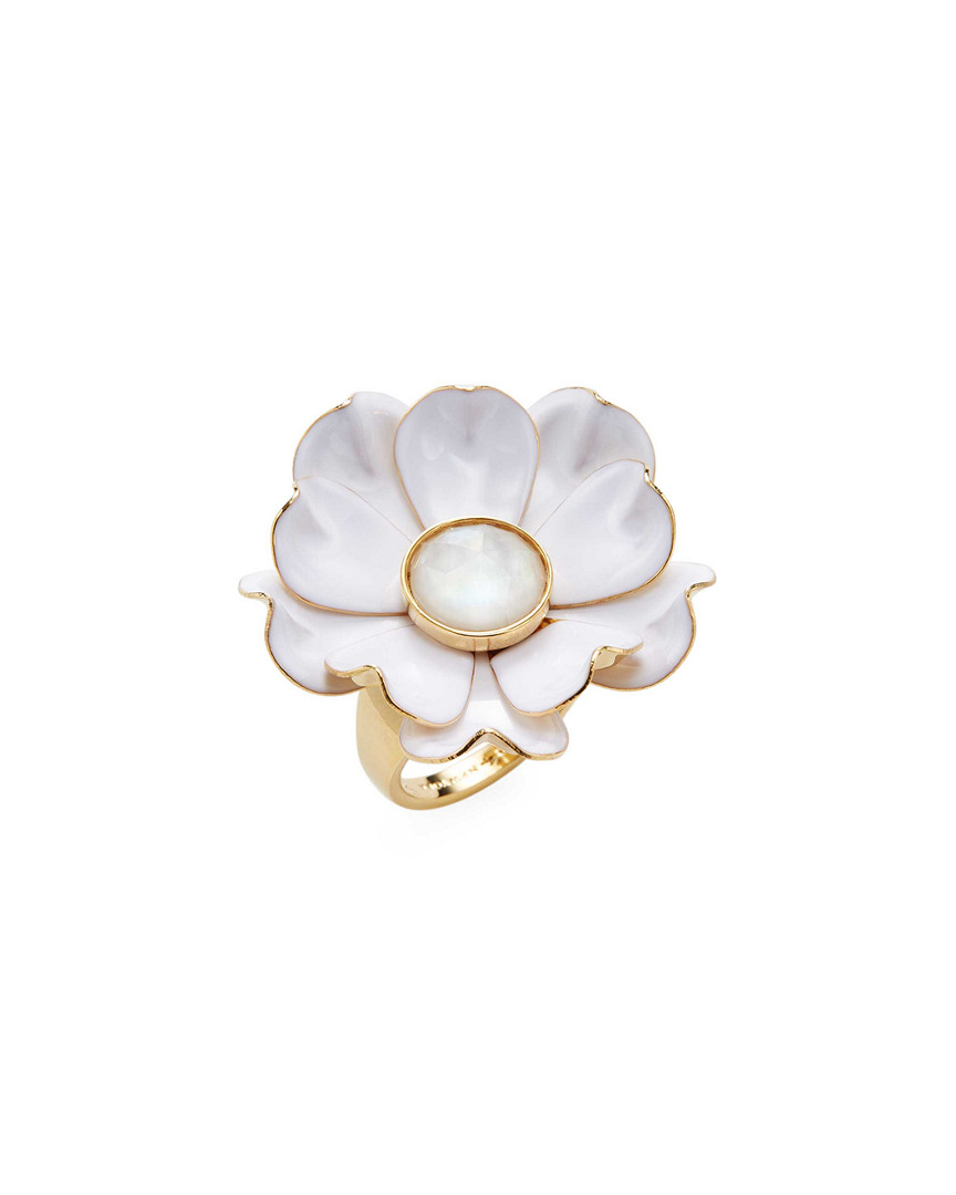 12K YELLOW GOLD PLATED BRIGHT BLOSSOM FLOWER RING